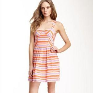 NWT Harlyn Silk Stripe Bustier  Dress Multicolor